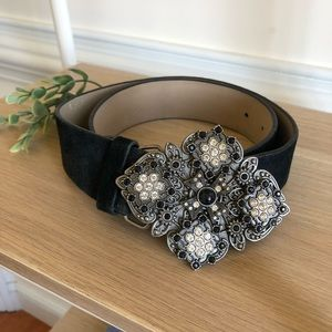 WHBM leather studded buckle belt